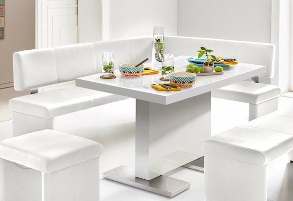 weiße Sitzbank für das Esszimmer