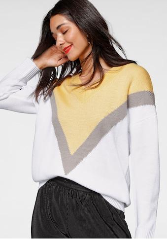 AJC V-Ausschnitt-Pullover, in Colorblocking und Oversize-Form kaufen