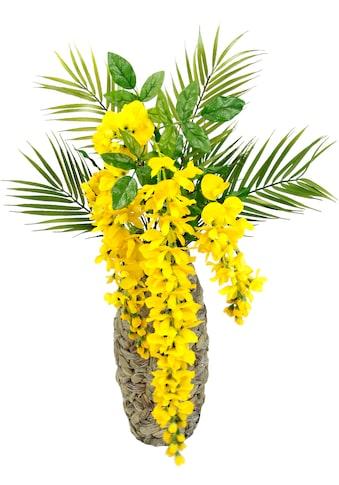 I.GE.A. Kunstblume »Blumenarrangement Goldfarbenregen mit Palmenzweige«, Vase aus... kaufen