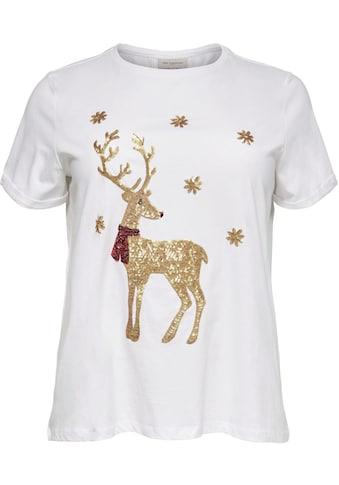 ONLY CARMAKOMA T-Shirt »mit X MAS - Motiv«, mit goldfarbenen Pailletten kaufen