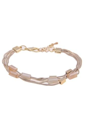 leslii Armband »Glassteine in Goldfarben Beige, 260117020«, mit Glassteinen kaufen