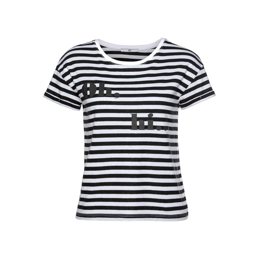 AJC T-Shirt, in Boxy-Form mit angesagten Streifen & Druck
