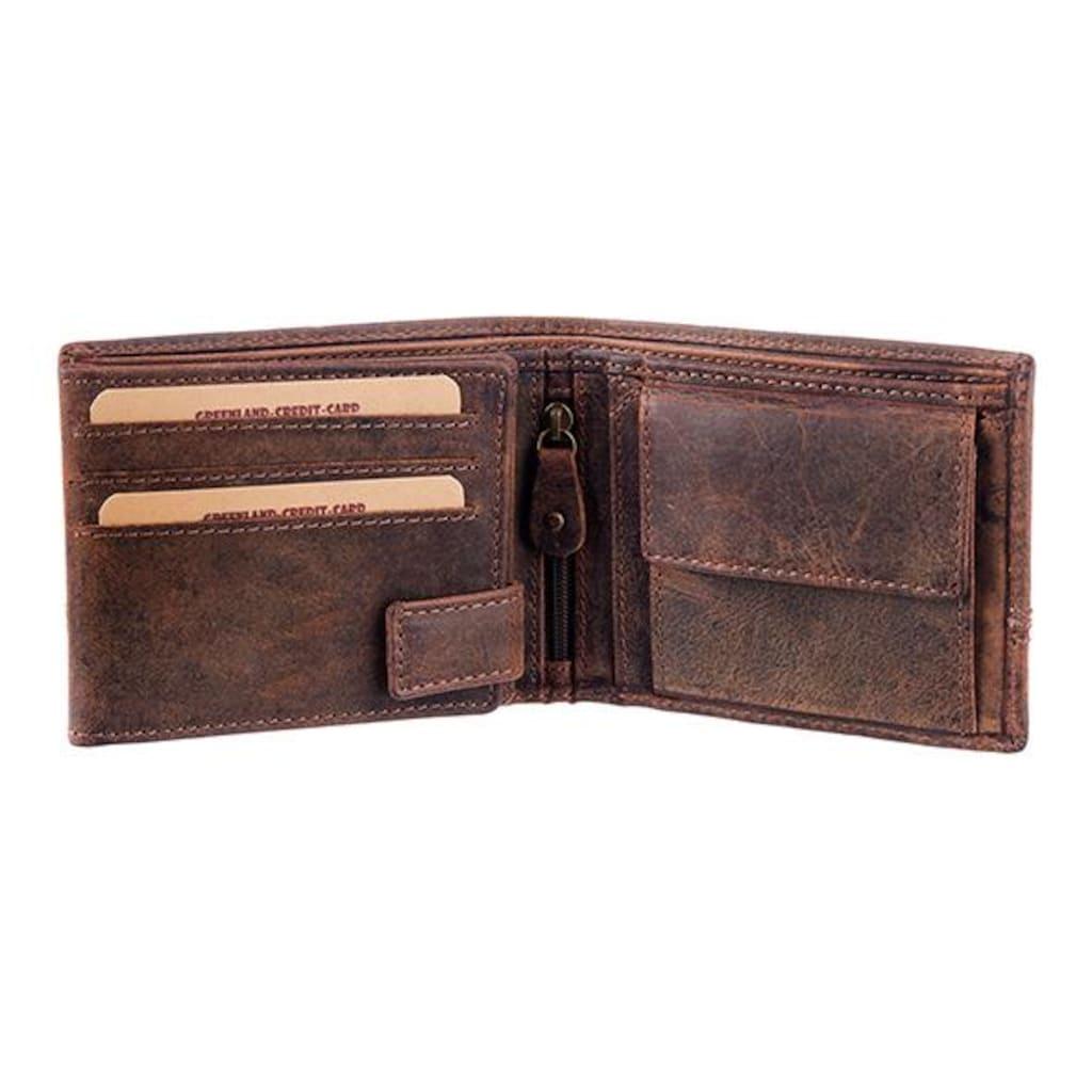 GreenLand Nature Geldbörse »Classic«, aus Leder mit Ziernaht im Querformat