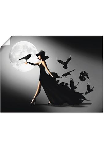 Artland Wandbild »Die Frau mit den Raben«, Animal Fantasy, (1 St.), in vielen Grössen... kaufen