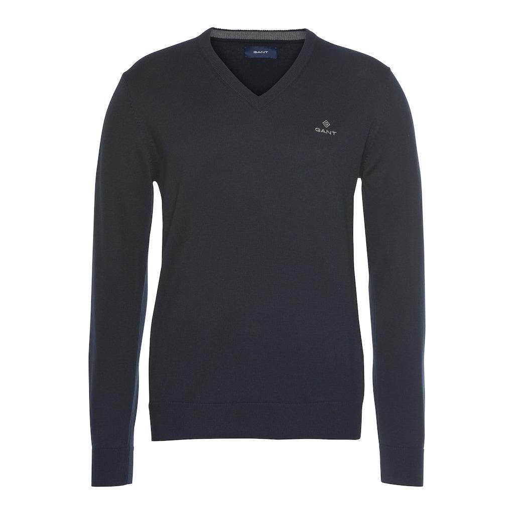 Gant V-Ausschnitt-Pullover »CLASSIC COTTON V-NECK«, Feinstrickqualität aus reiner Baumwolle