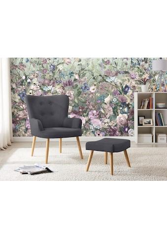 my home Sessel »Levent«, inklusive eines Hockers, in unterschiedlichen Bezugsqualitäten und Farbvarianten, Sitzhöhe 40 cm kaufen