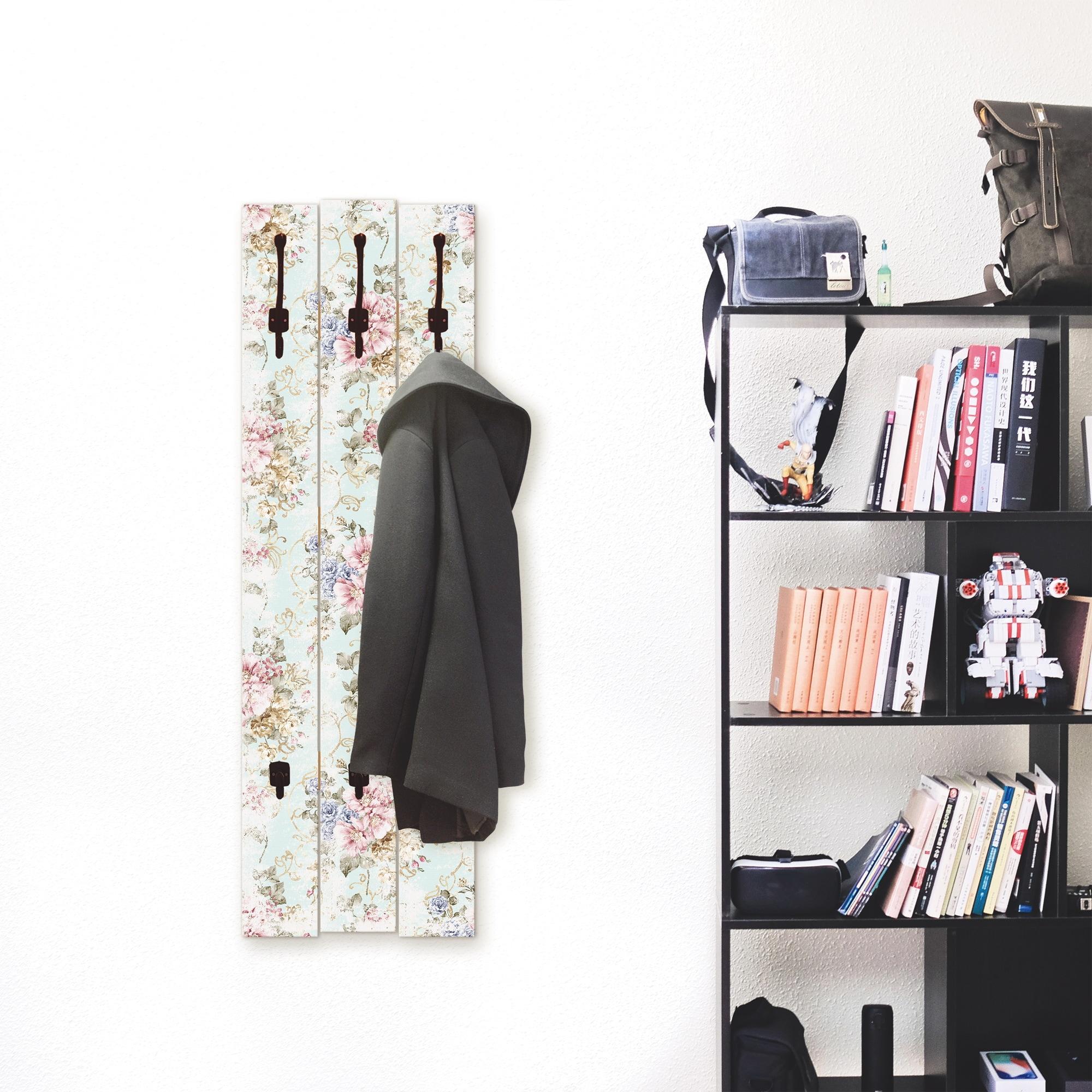 Image of Artland Garderobenpaneel »Blumen mit nahtlosem Muster«, Garderobe mit 3 grossen und 2 kleinen Haken