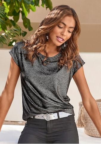 Vivance T-Shirt, mit silberfarbennem Glitzerdruck kaufen