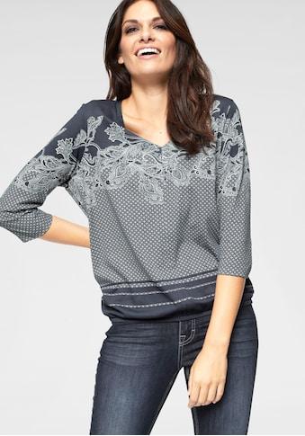 Olsen Print-Shirt, mit Muster-Mix und Gummizug im Saum kaufen