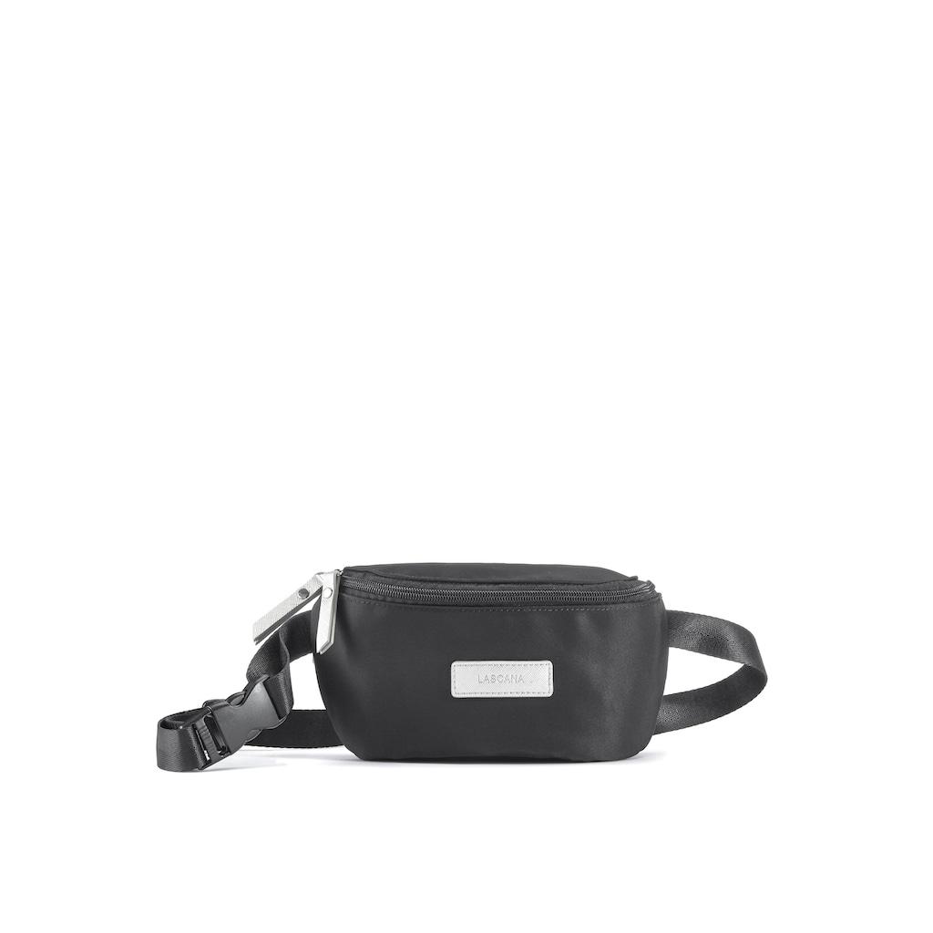 LASCANA Bauchtasche, Bauchtasche aus schwarzem Nylon mit silberfarben Akzenten