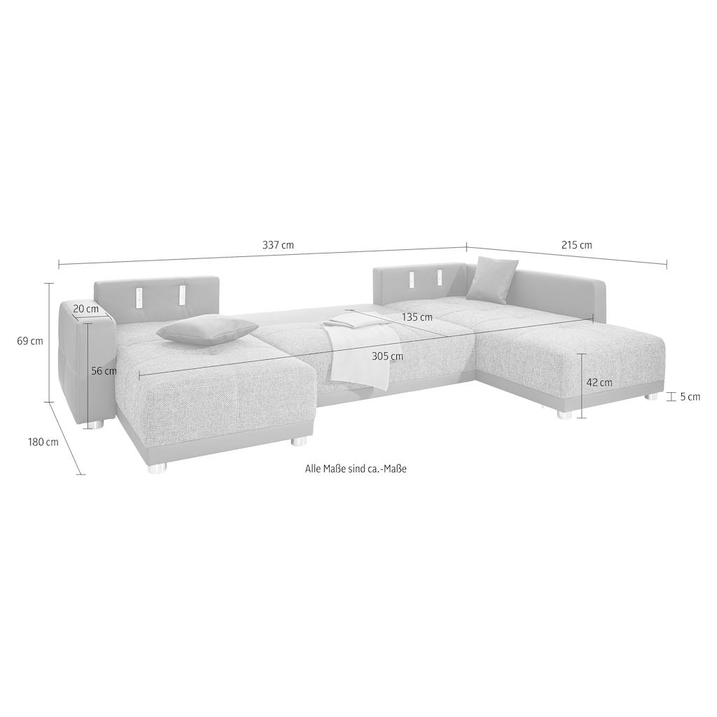 Places of Style Wohnlandschaft, mit Federkern, Bettfunktion und Bettkasten, inklusive 2 Kopfstützen, frei im Raum stellbar