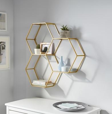 Metall-Wandregal in Gold