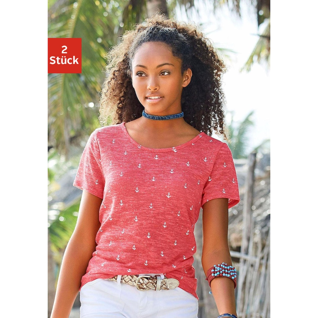 Beachtime T-Shirt, mit maritimem Anker-Druck