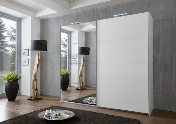 Kleiderschrank in Weiß mit Spiegeltür