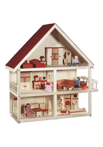 roba® Puppenhaus »Villa Bunt«, 3-stöckig, inkl. Möbel und Puppen kaufen