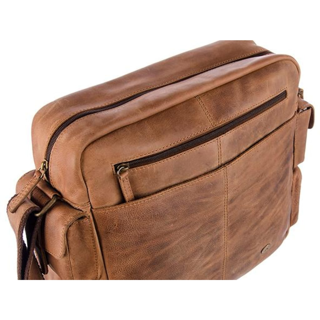 GreenLand Nature Messenger Bag »Montenegro«, aus echtem Leder mit praktischer Einteilung