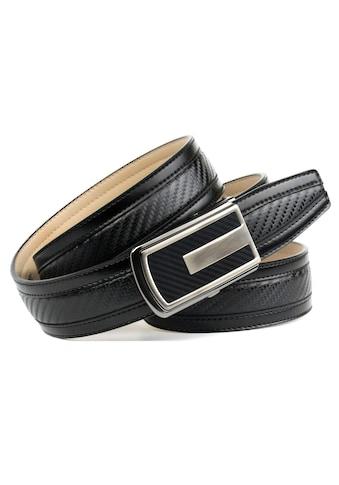 Anthoni Crown Ledergürtel, Automatik-Schliesse in Karbon, sportiv kaufen