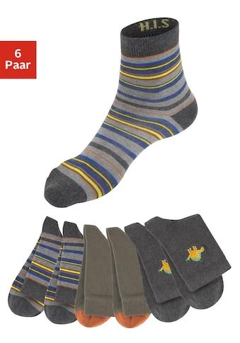 H.I.S Socken, (6 Paar), mit eingetricktem Ringel, Motiv und uni kaufen