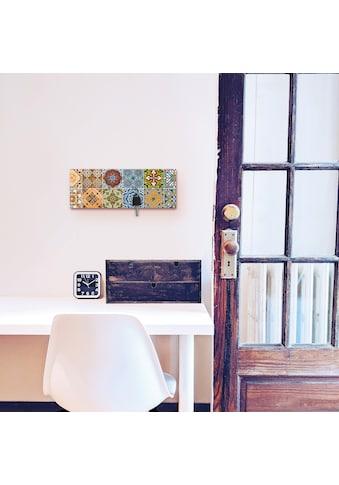 Artland Schlüsselbrett »Gemusterte Keramikfliesen«, aus Holz mit 4 Schlüsselhaken –... kaufen