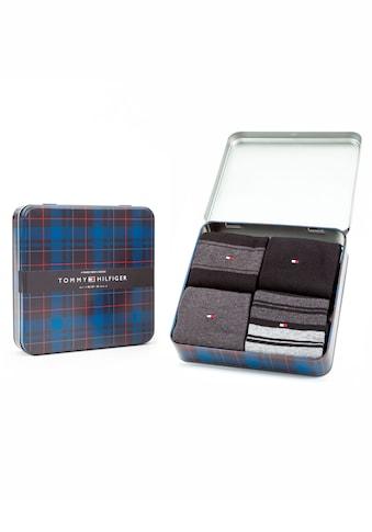 TOMMY HILFIGER Businesssocken, (Box, 4 Paar), uni und mit trendigen Streifen kaufen