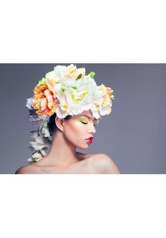 queence Acrylglasbild »Frau mit Blumenhut« kaufen