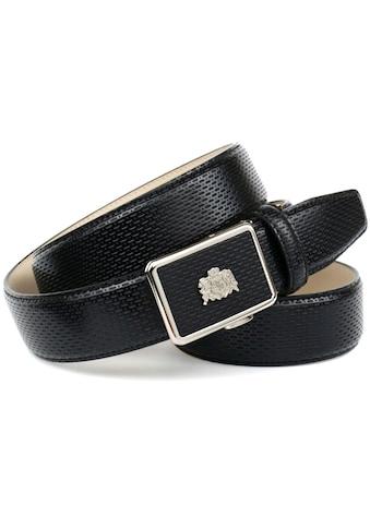 Anthoni Crown Ledergürtel, für schwarze Schuhe mit perforiertem Leder, mit kleinem Wappen kaufen