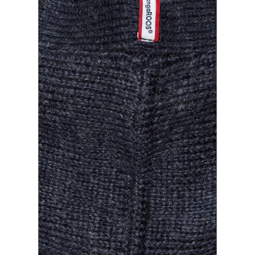 KangaROOS Kapuzenstrickjacke, mit aufgesetzten Taschen und breiten Rippbündchen