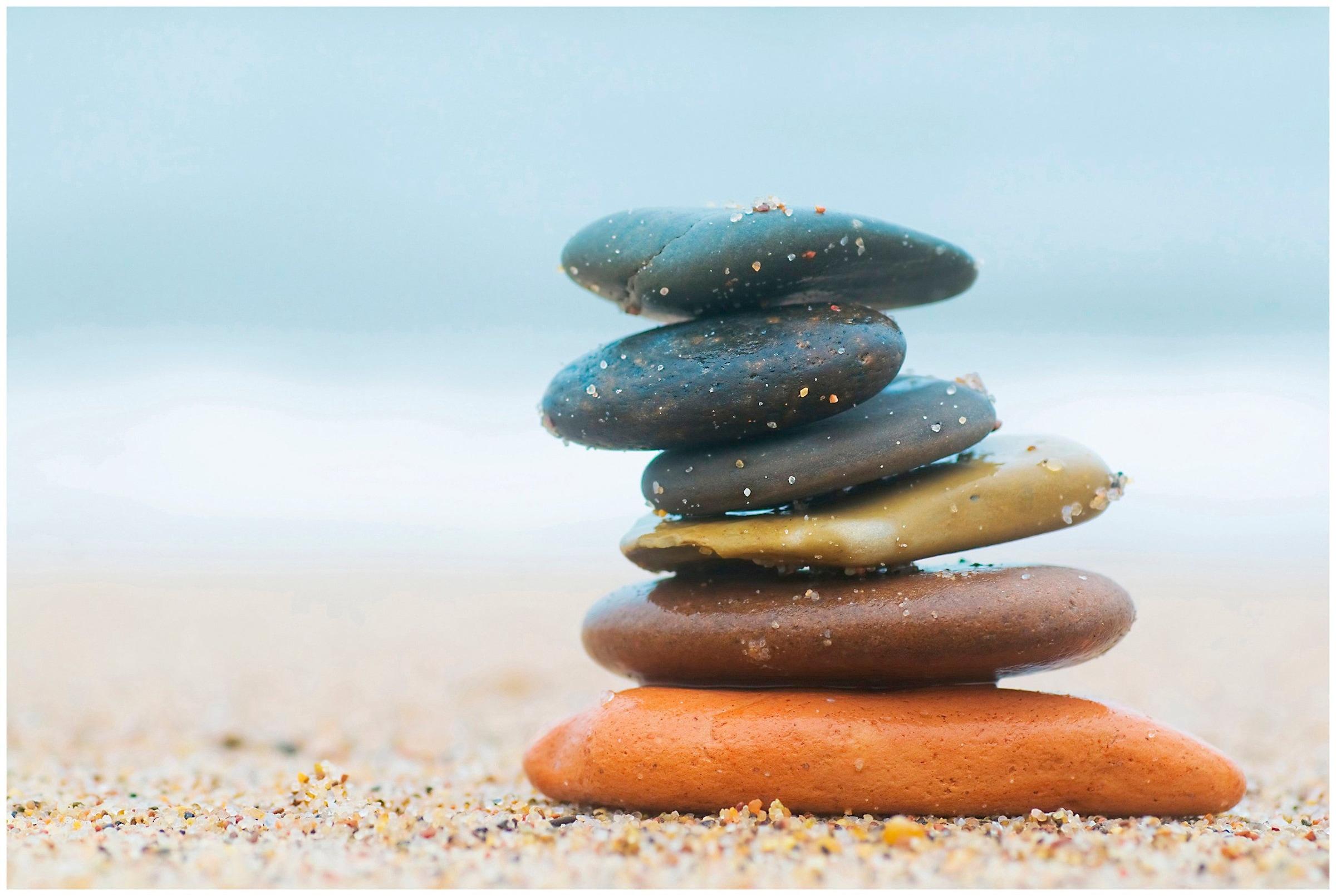 Image of Art & Pleasure Acrylglasbild »Balanced stones«, Landschaften