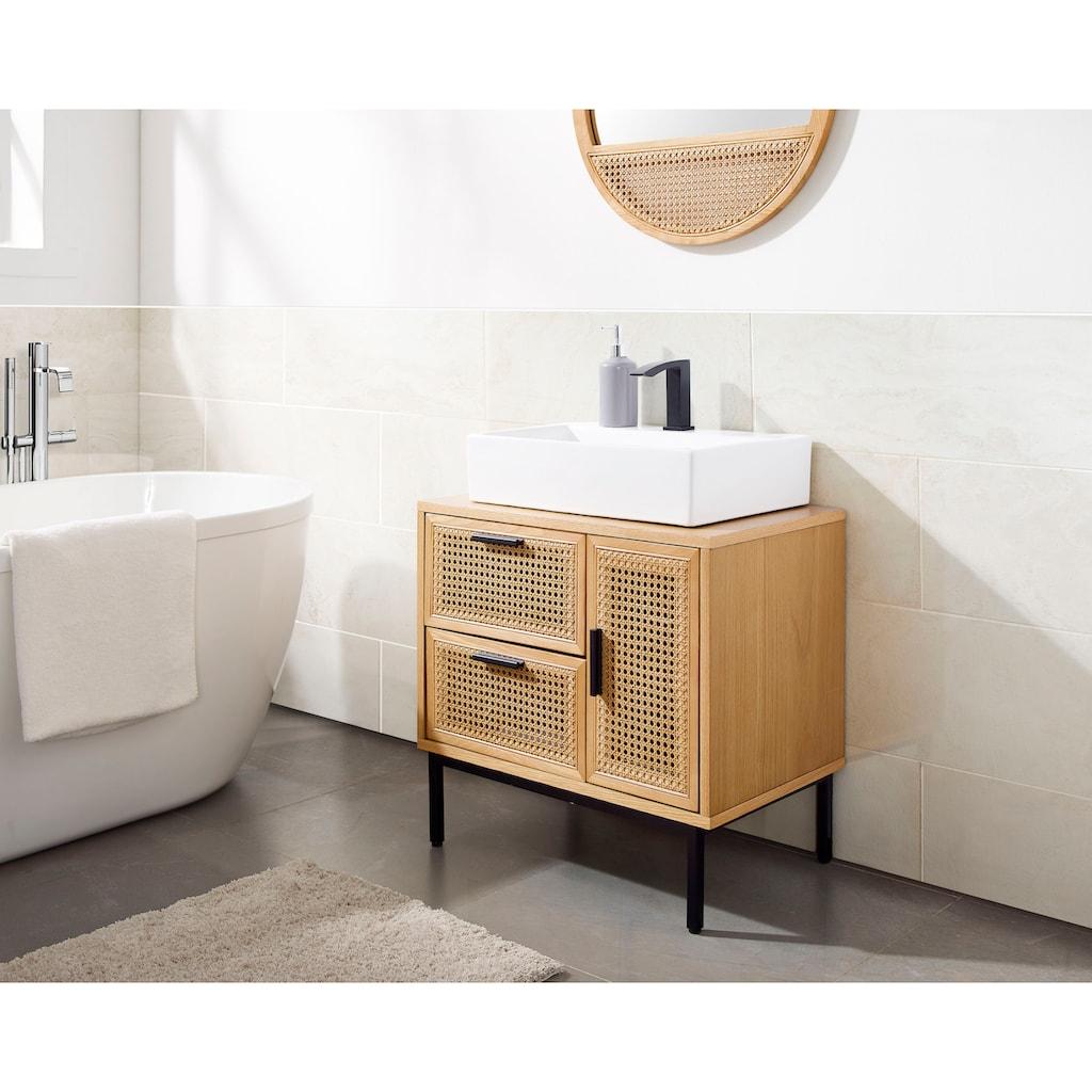 COUCH♥ Waschbeckenunterschrank »Feines Geflecht«, Rattan Einsatz, viel Stauraum, 1 Schublade, 2 Türen