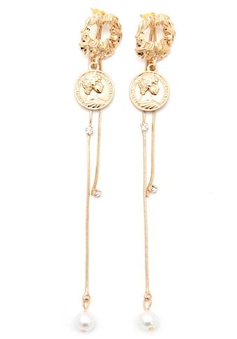 J.Jayz Paar Ohrstecker »mit Münzen, glamourös, vergoldfarbenet«, mit Acrylperlen und... kaufen