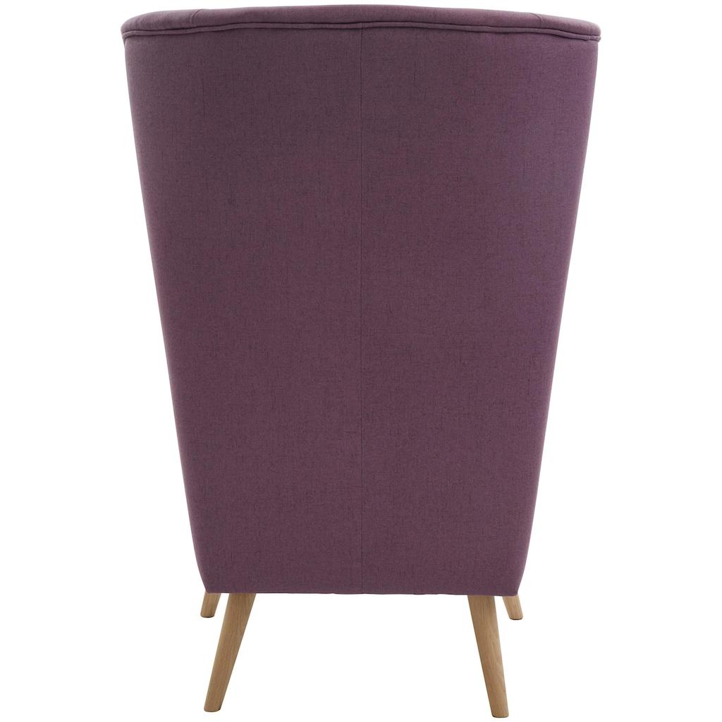 Guido Maria Kretschmer Home&Living Sessel »Salla«, wahlweise mit oder ohne Hocker; grosser Sessel: Masse B/T/H: 78/94/118 cm, Bezug auch in Luxus-Microfaser in Teddyfelloptik