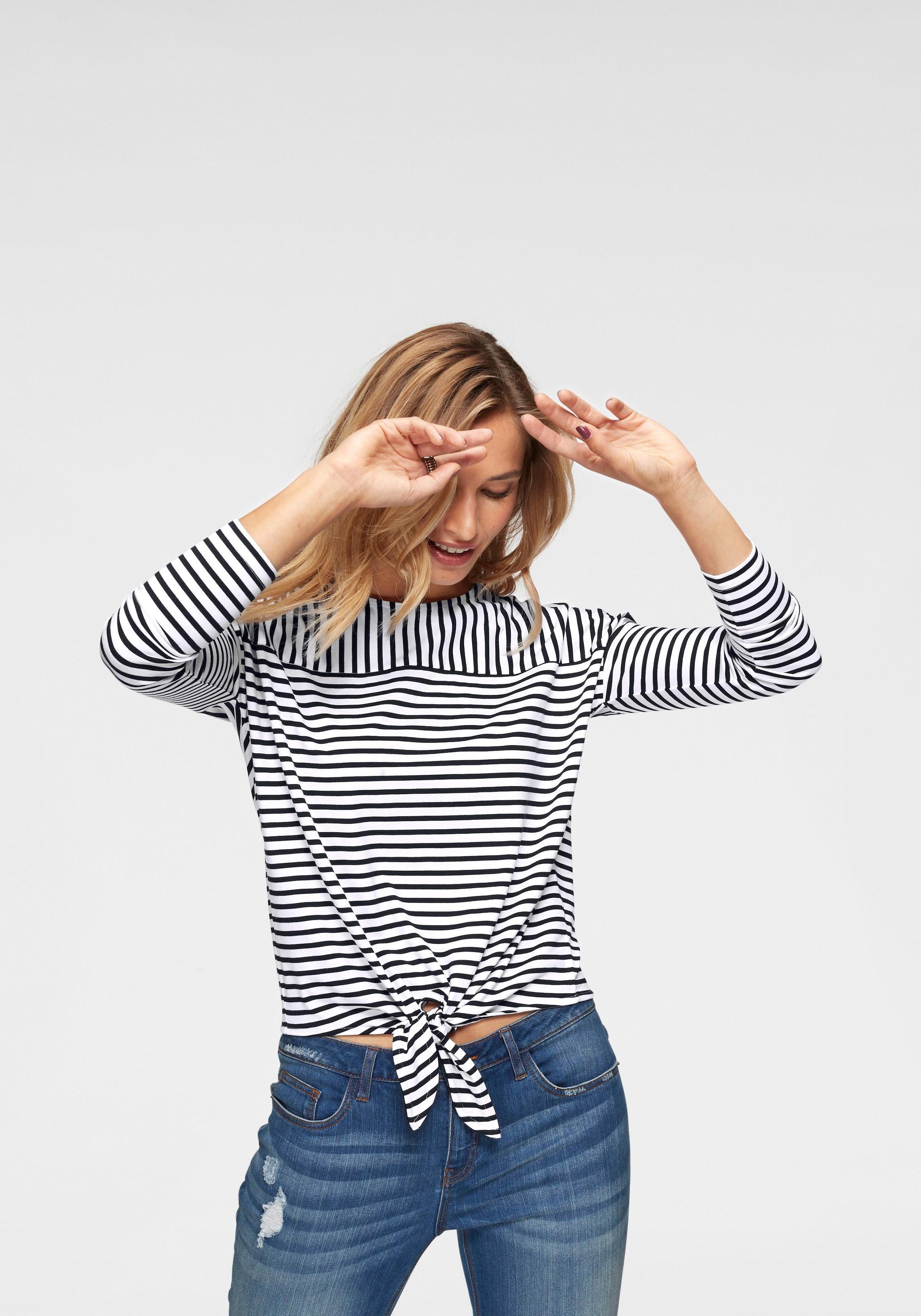 Image of Aniston by BAUR Langarmshirt, vorne mit Bindeband zu knoten