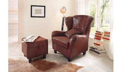 Home affaire Sessel »Oliver«, mit Hocker, Microfaser Antikoptik kaufen