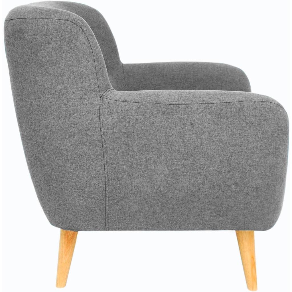 Home affaire Sessel »Noris«, mit Zierknopfheftung im Rücken, skandinavischer Stil, Holzfüsse