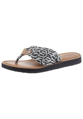 TOMMY HILFIGER Zehentrenner »LEATHER FOOTBED TH BEACH SANDAL«, mit TH Logo kaufen