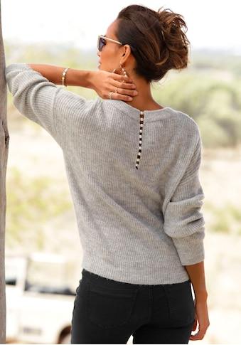 LASCANA V-Ausschnitt-Pullover, mit Zierperlen im Rücken kaufen