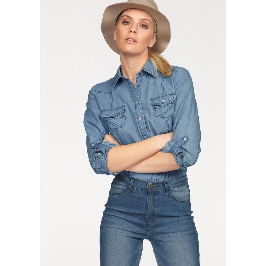 Arizona Jeansbluse »mit Druckknöpfen in Perlmuttoptik«, und Krempelärmeln