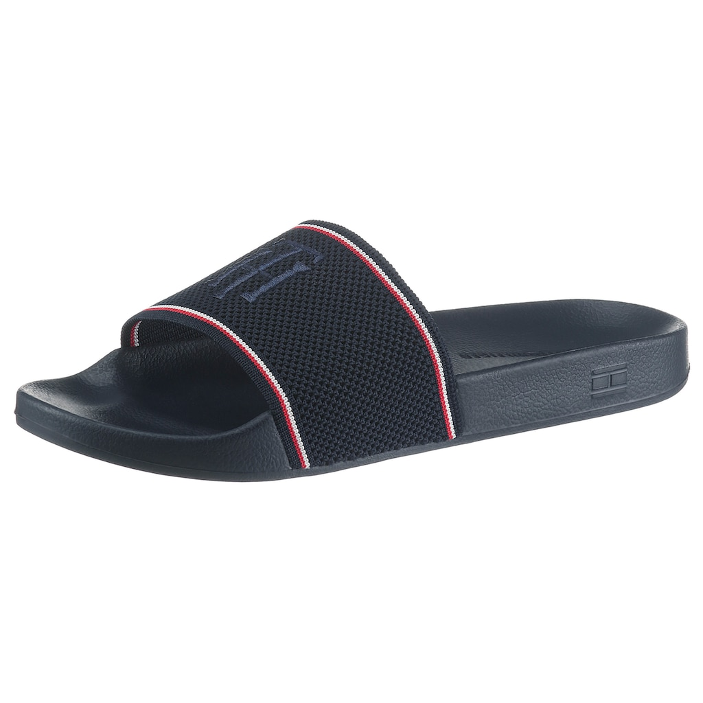 TOMMY HILFIGER Badepantolette »TOMMY KNITTED POOL SLIDE«, mit TH Logostickerei