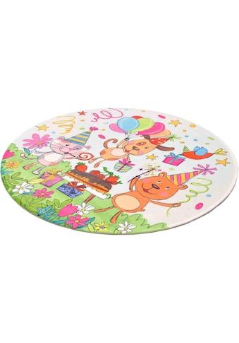 Böing Carpet Kinderteppich »Lovely Kids 418«, rund, 6 mm Höhe, Motiv Geburtstagsparty kaufen