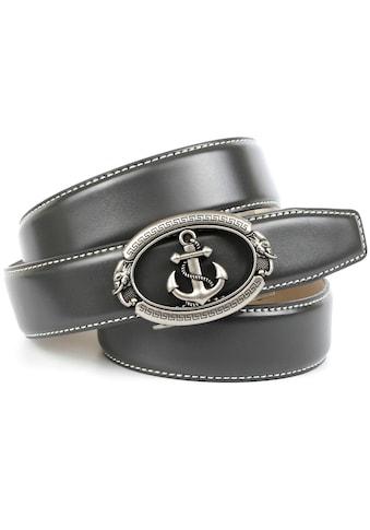 Anthoni Crown Ledergürtel, mit stilisiertem Anker und weisser Ziersteppung kaufen