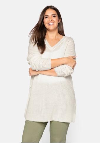 Sheego V-Ausschnitt-Pullover, mit V-Ausschnitt kaufen