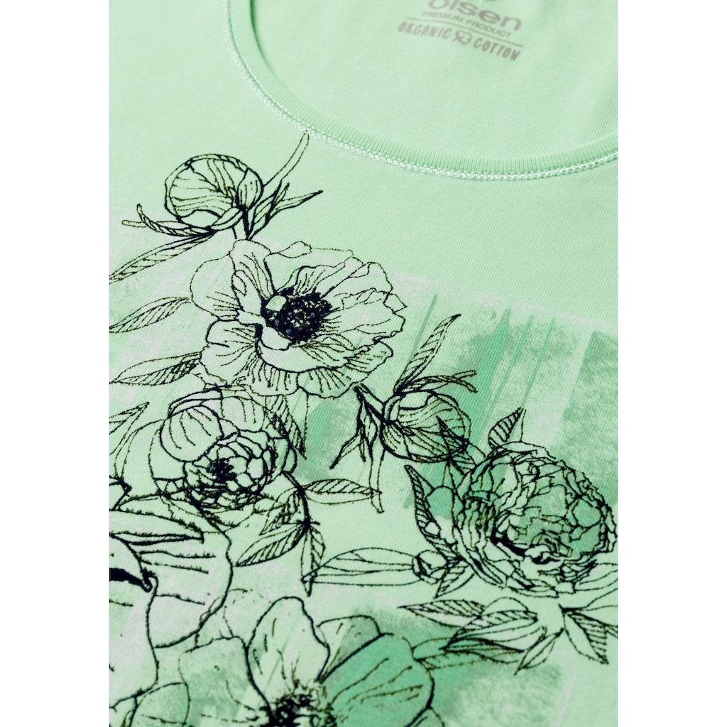 Olsen Rundhalsshirt, aus Bio-Baumwolle mit floral bedrucktem Vorderteil