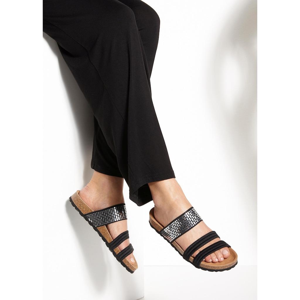 LASCANA Pantolette, mit Korkfussbett und elastischen Riemchen