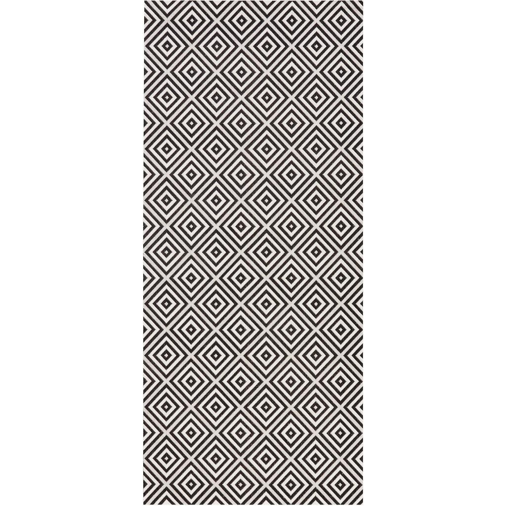 bougari Läufer »Karo«, rechteckig, 8 mm Höhe, Flachgewebe, In- und Outdoor geeignet, Geometrisches-Design, Für Terasse und Balkon, Wohnzimmer