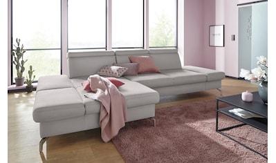 sit&more Ecksofa, Fusshöhe 12 cm, inklusive Sitztiefen-, Armteil- und Kopfteilverstellung kaufen