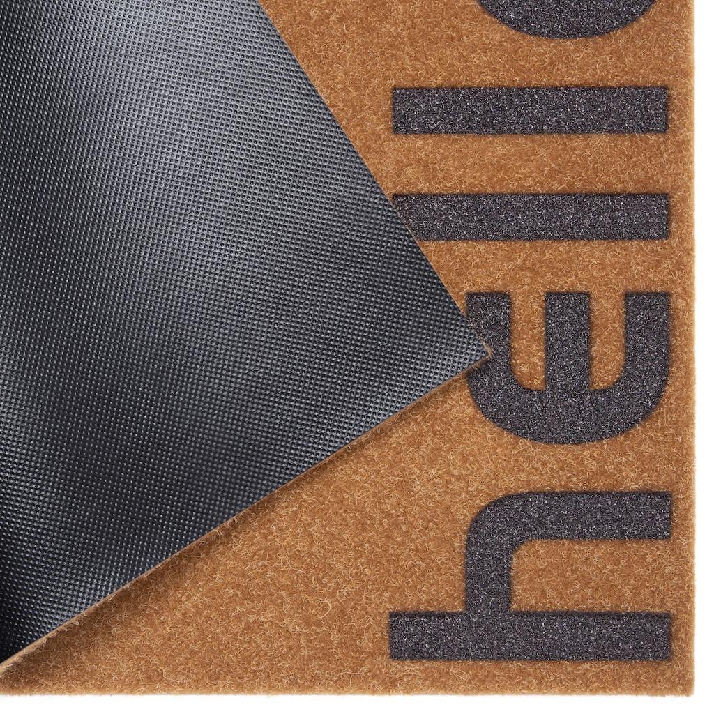 andas Fussmatte »Hello klein«, rechteckig, 10 mm Höhe, Schmutzfangmatte, mit Spruch, In- und Outdoor geeignet, Kokos-Optik