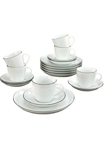 "CreaTable Kaffeeservice ""Black Line"" (18 - tlg.), Porzellan kaufen"