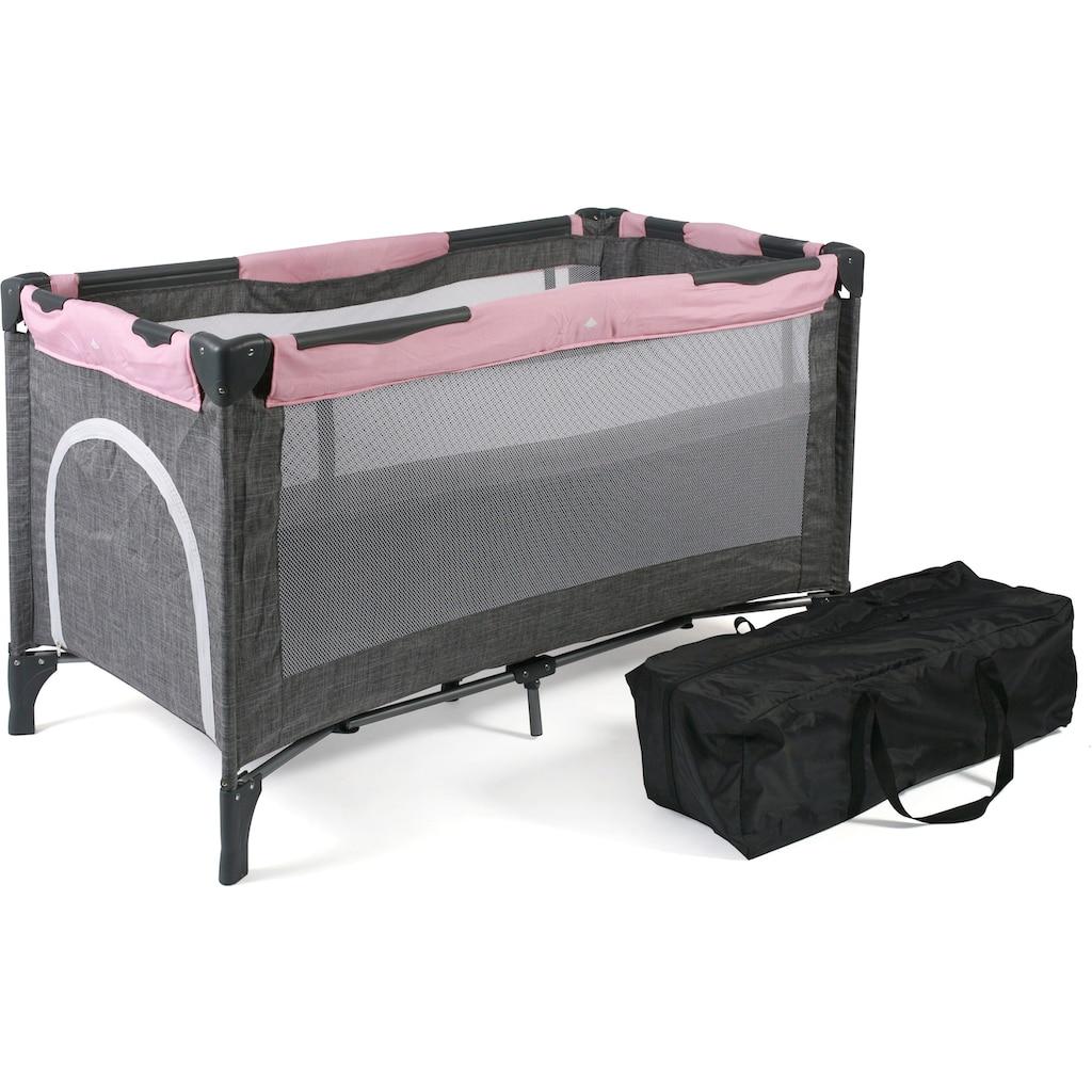 CHIC4BABY Baby-Reisebett »Luxus, Melange Rosa«, inkl. Transporttasche
