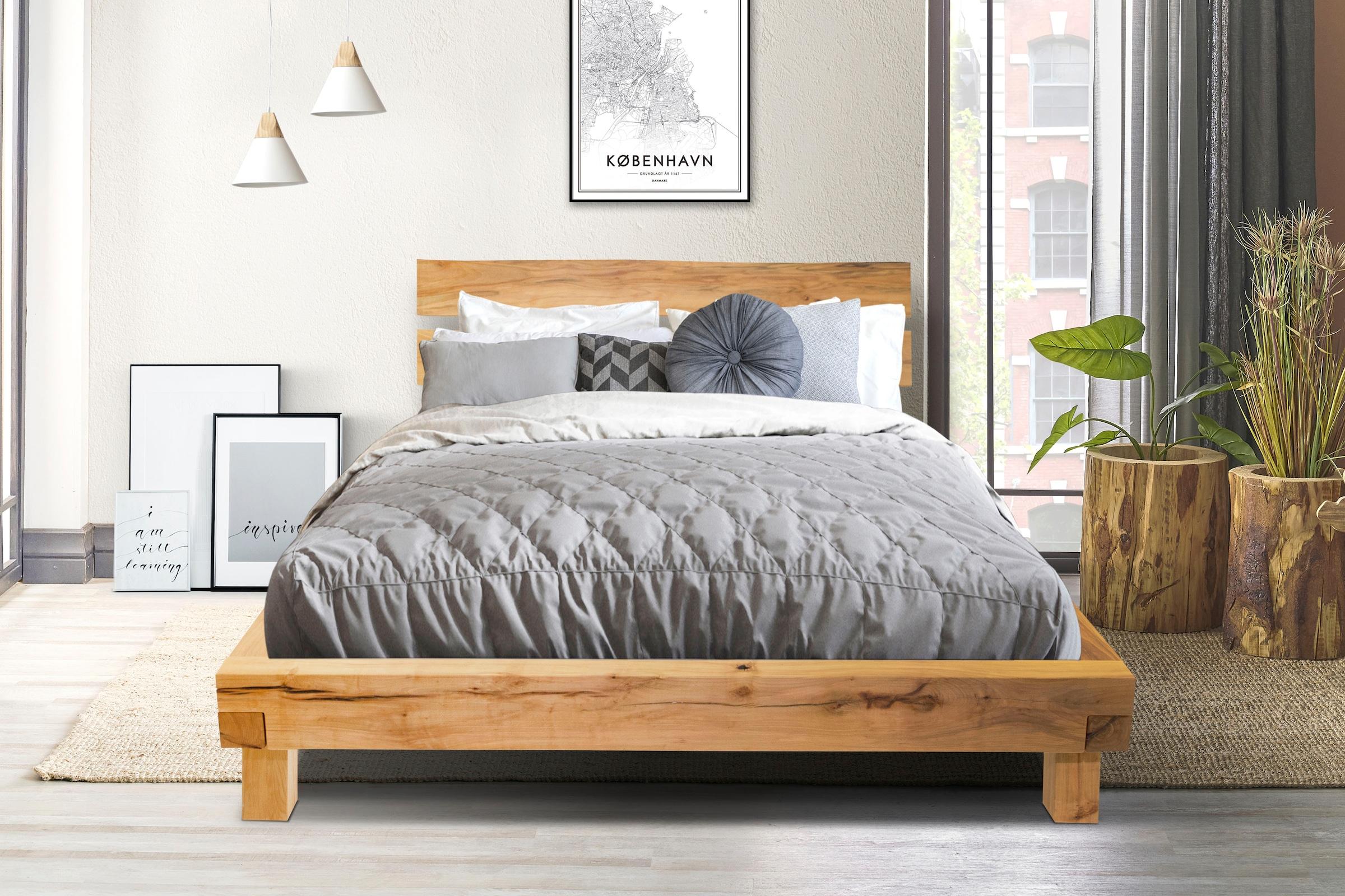 Image of Home affaire Massivholzbett »Julijan«, aus massivem Buchenholz, mit einem leicht abgewinkelten Kopfteil, Breite 204 cm