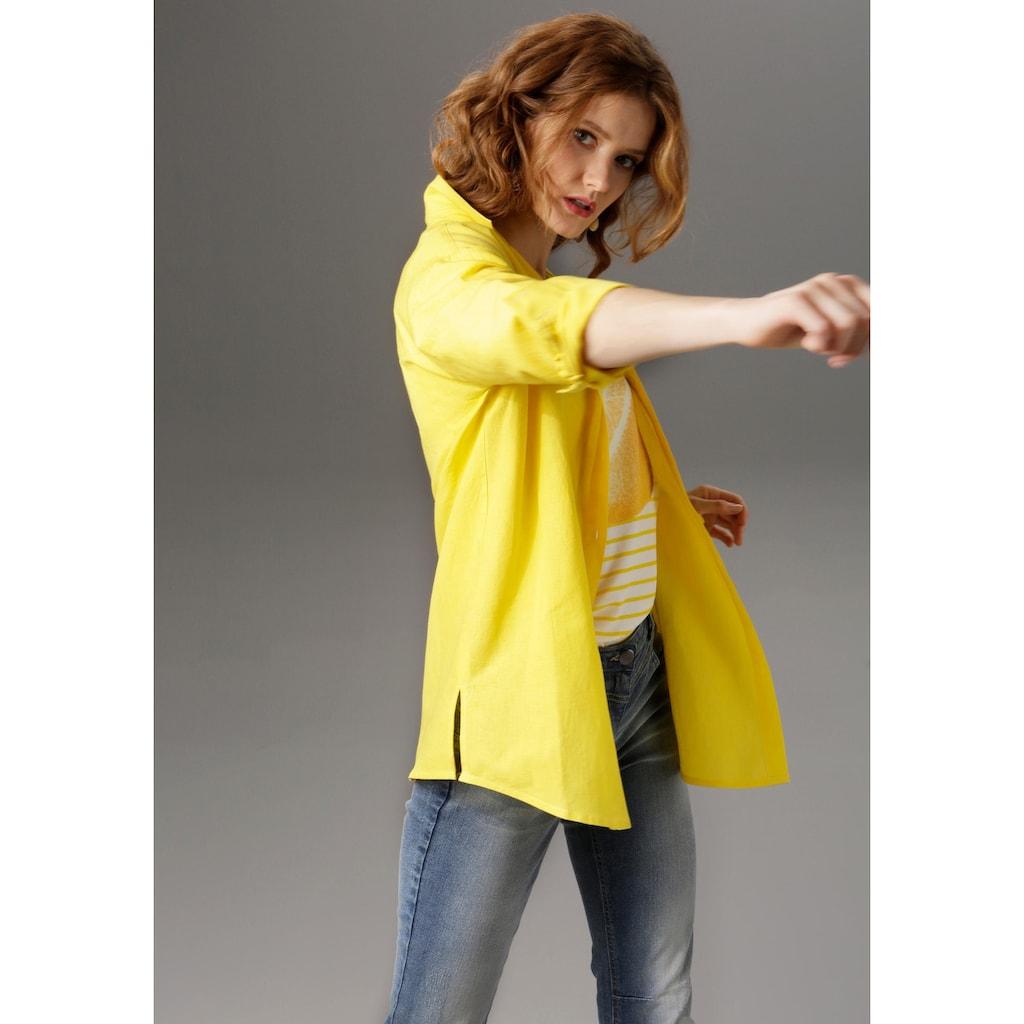 Aniston CASUAL Hemdbluse, mit Leinen
